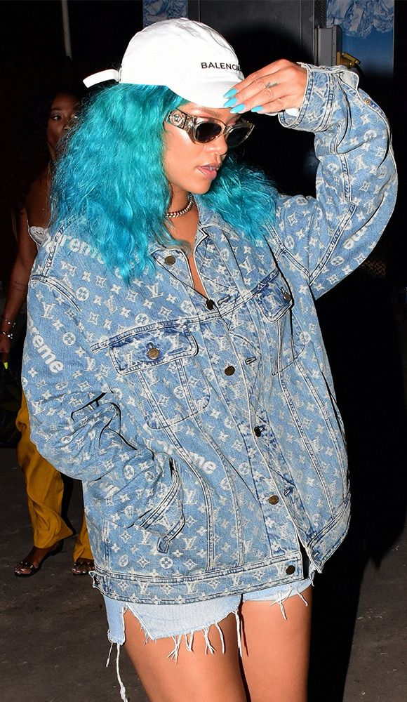 cf97f06ce7cf6 Rihanna wore a Louis Vuitton x Supreme jacket to a party in Barbados ...