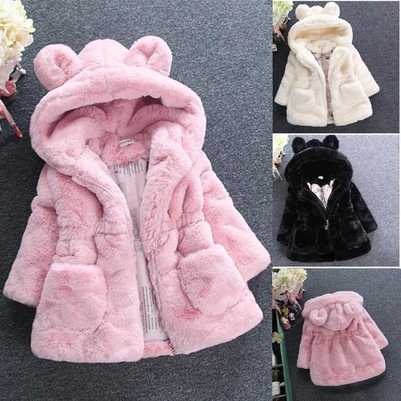 Kids Girls Winter Fluffy Leopard Coats Warm Hooded Outwear Jackets Snowsuit New