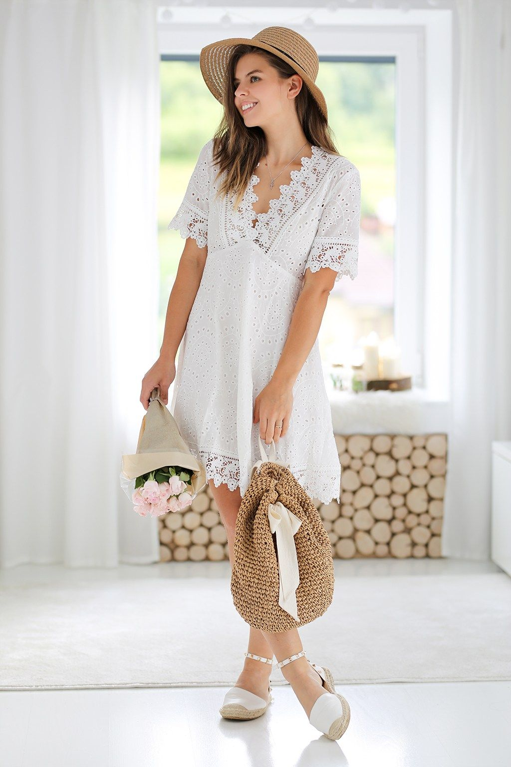 bc86a9a37d3a SHEIN #Lace #Trim #Eyelet #Embroidered #Dress | Elegant Look in 2019 ...