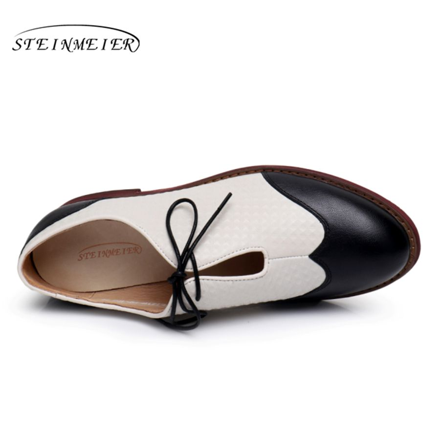 25e42d726e81 Genuine leather woman size 9 designer yinzo vintage flat shoes round toe  handmade black beige oxford shoes for women 2017-in Women s Flats from  Shoes on ...