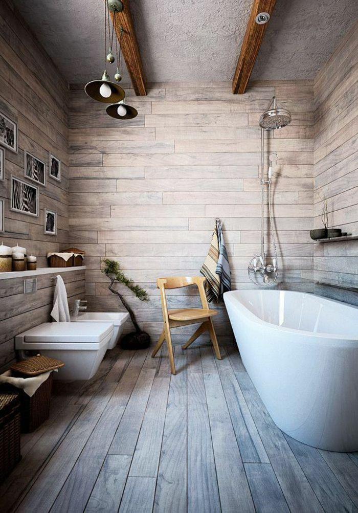 Le th me du jour est la salle de bain r tro plafond for Salle de bain bois et gris