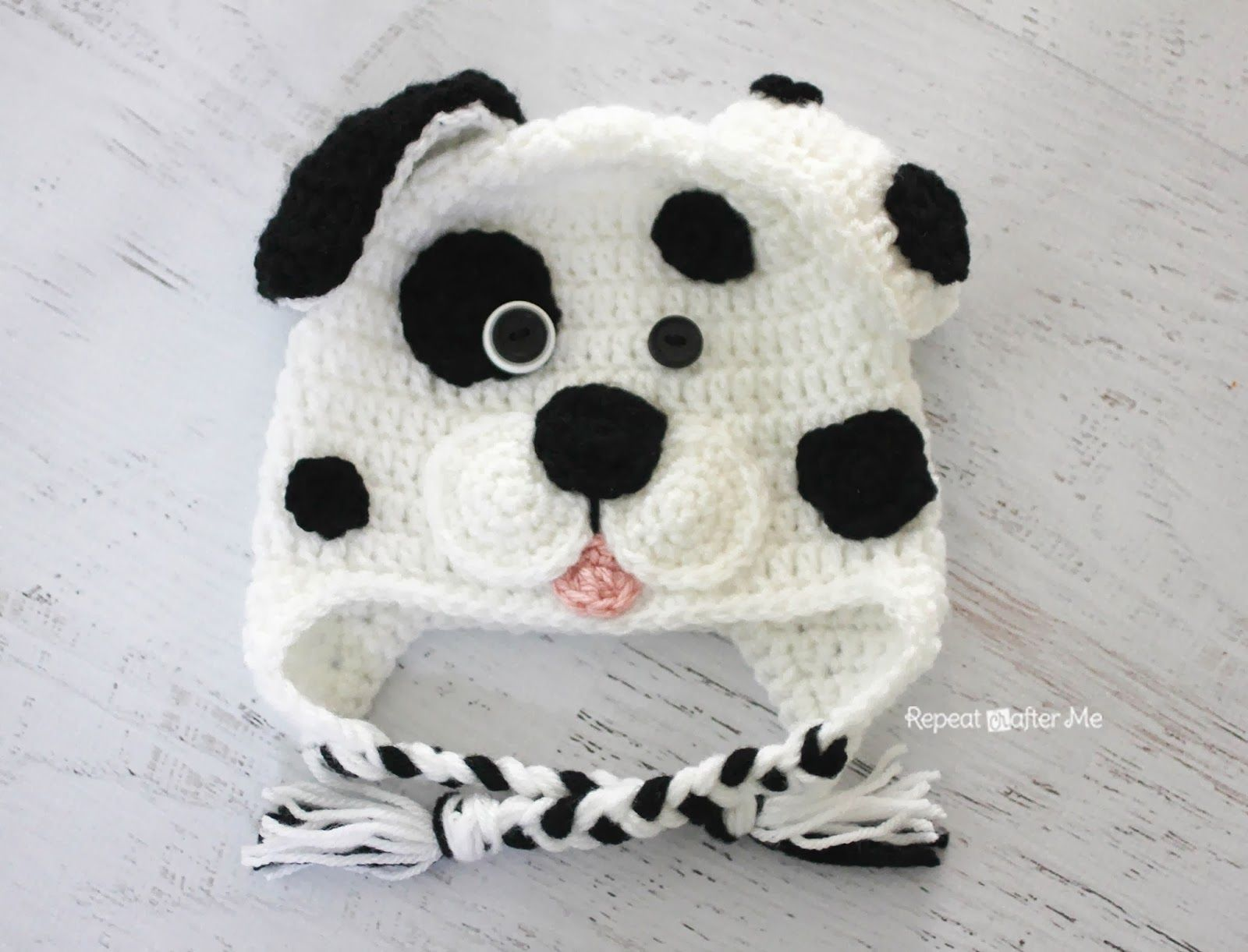 Crochet Dalmatian Dog Pattern (Repeat Crafter Me) | Gorros, Caras y ...