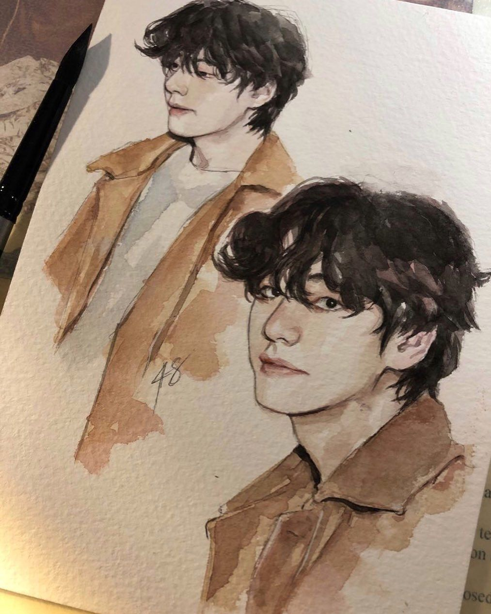 """Photo of 48 x 4∞ on Instagram: """"Been almost a month since I last posted zzz . . . #btsfanart #taehyung #watercolor"""""""