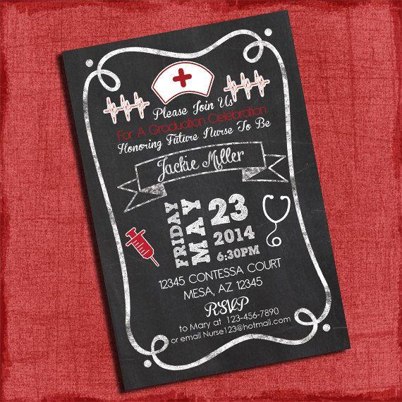 Nurse Graduation Party Invitation Chalkboard Style 4x6 Or 5x7 Printable Grad Parties Nursing
