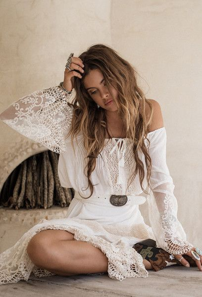 Hippie boho bohemian gypsy style white dress. For more follow www.pinterest.com/ninayay and stay positively #inspired