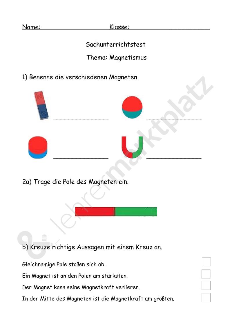 Test Magnetismus – Sachunterricht | Sachkunde / Sachunterricht ...