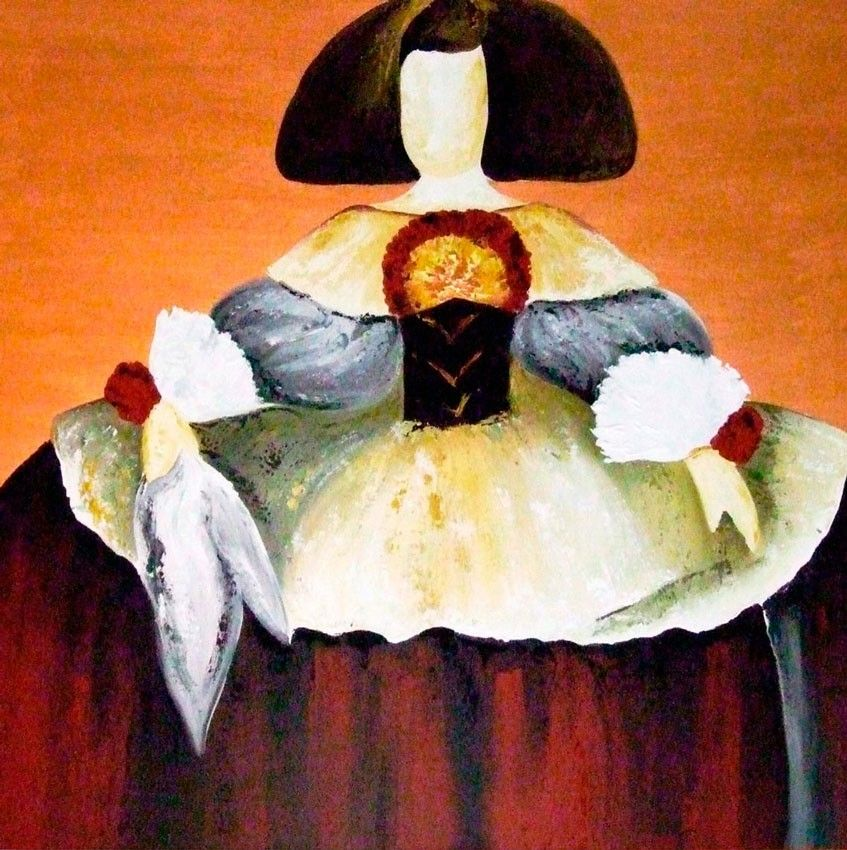 Cuadro original menina moderna ii meninas pinterest for Cuadros comedor originales