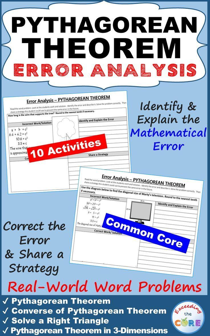 PYTHAGOREAN THEOREM Word Problems Error Analysis (Find