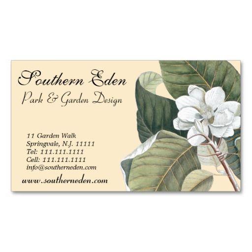 magnolia blossom business cards garden designer