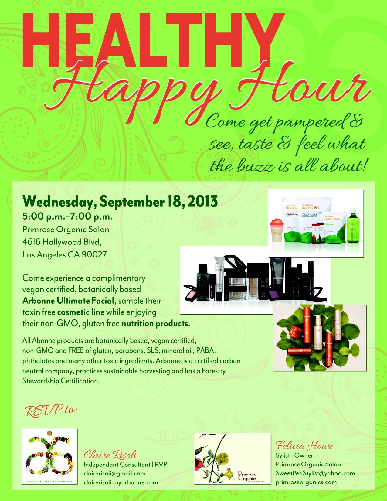 Healthy Happy Hour Tomorrow Night From 5pm 7pm Come Join Us Spa Specials Arbonne Healthy Happy