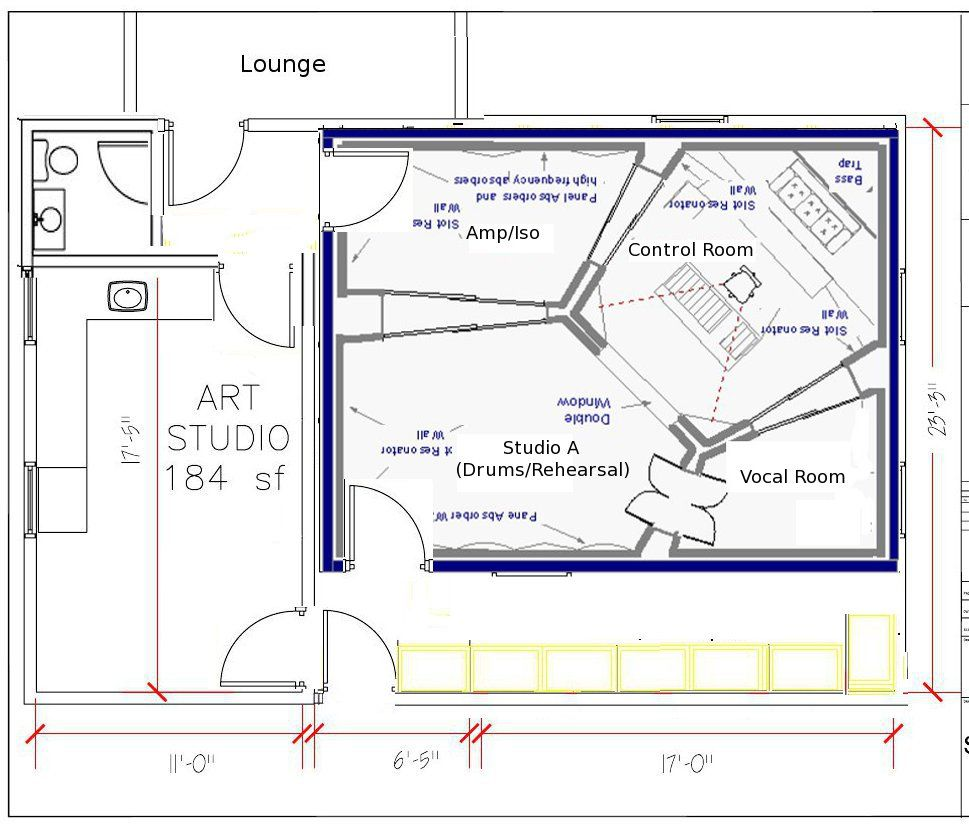 back to plan a revised with corner planjpg 969831 recording studiostudio designstudio - Home Recording Studio Design Plans