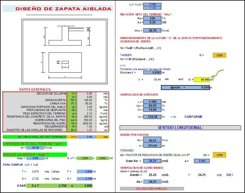 Diseno De Zapata Aislada Segunda Opcion Disenos De Unas Hojas De Calculo Hoja De Calculo Excel