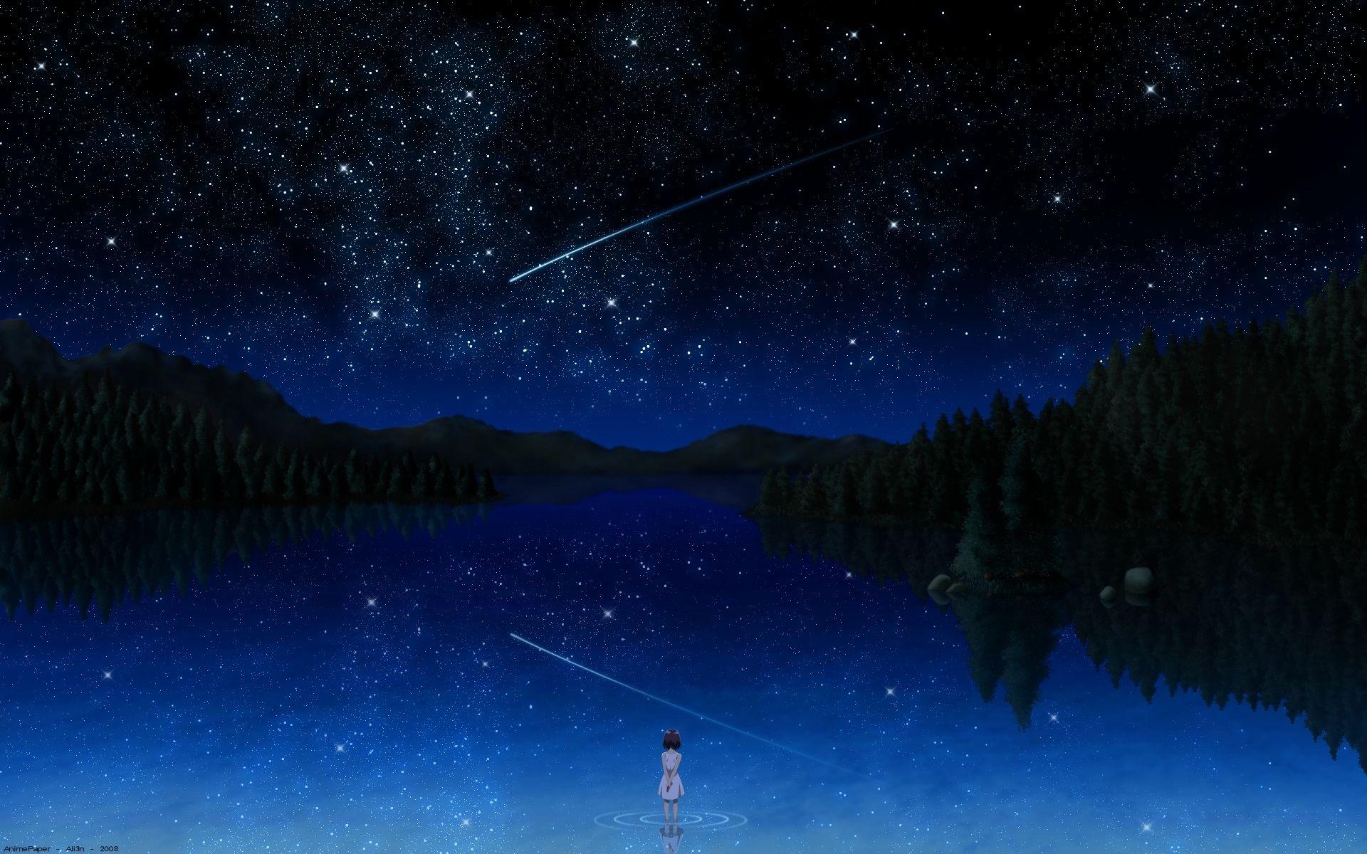 Night Sky Bai Falling Stars Anime Girls Reflections Lakes Shooting Star Anime Darker Than Black Forests Anime Scenery Anime Scenery Wallpaper Scenery Wallpaper