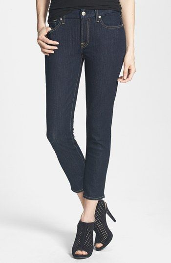 7 For All Mankind® 'Kimmie' Crop Skinny Jeans (Ink) available at #Nordstrom
