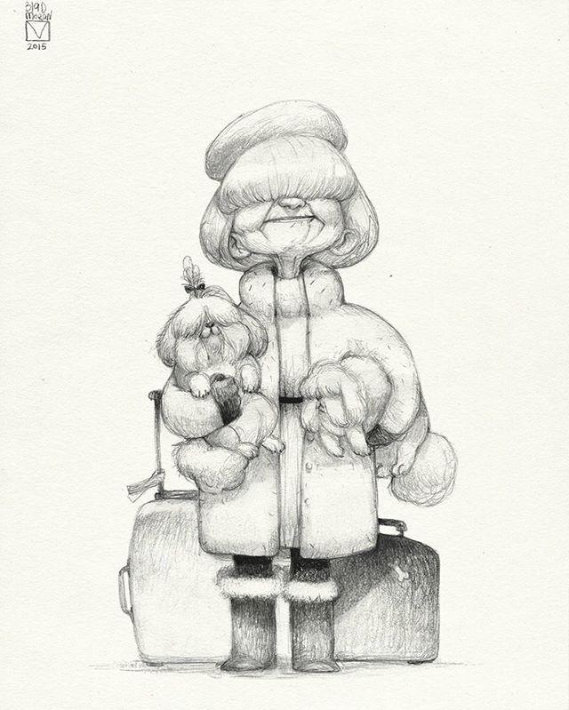 004 #sketchtober #sketch #penciltober #old #granny #dog#dogsofinstagram…