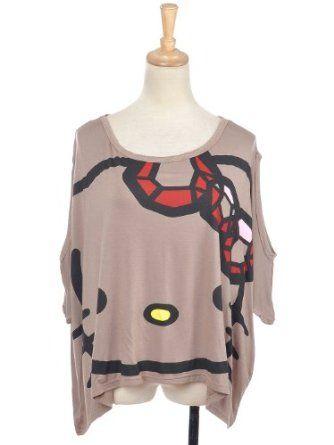 Anna-Kaci Free Size Brown Graphic Tee Hola Gato Kitty Oversized Crop Box Shirt $22.99