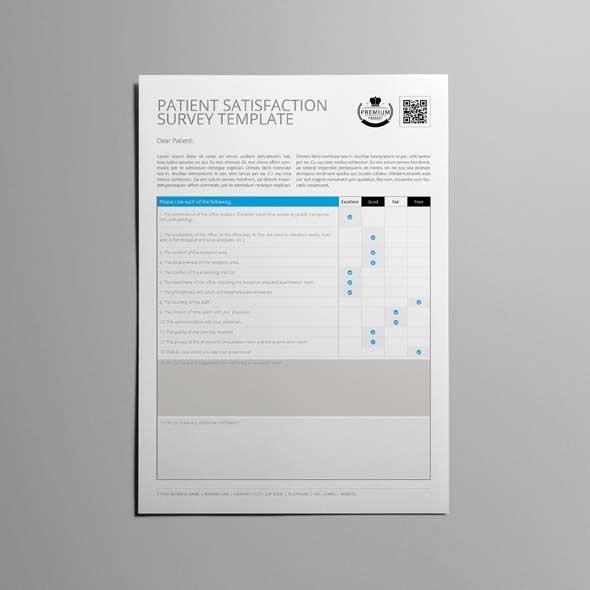 Patient Satisfaction Survey Template CMYK \ Print Ready Clean - performance evaluation forms free