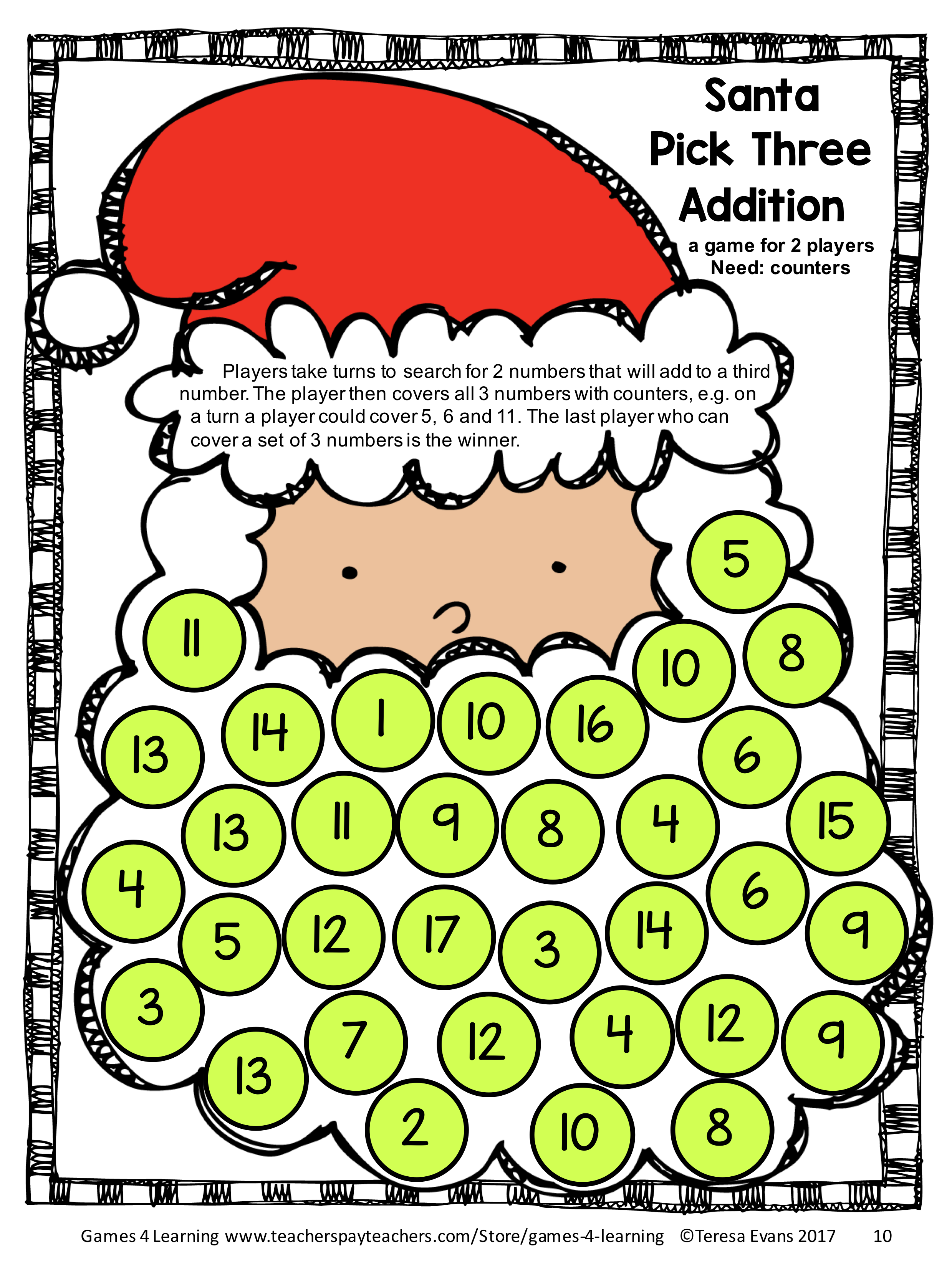 Christmas Math Puzzle Triangle Tree Totals Just Use With Round