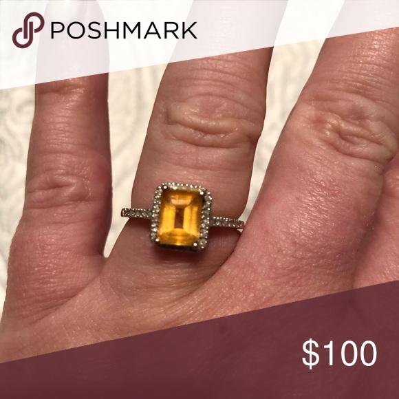 10k Citrine And Diamond Ring Diamond Ring Citrine Diamond