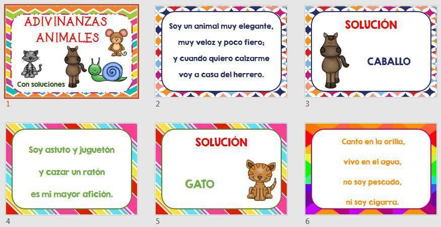COMPRENSIÓN LECTORA Colección de adivinanzas de animales con ...