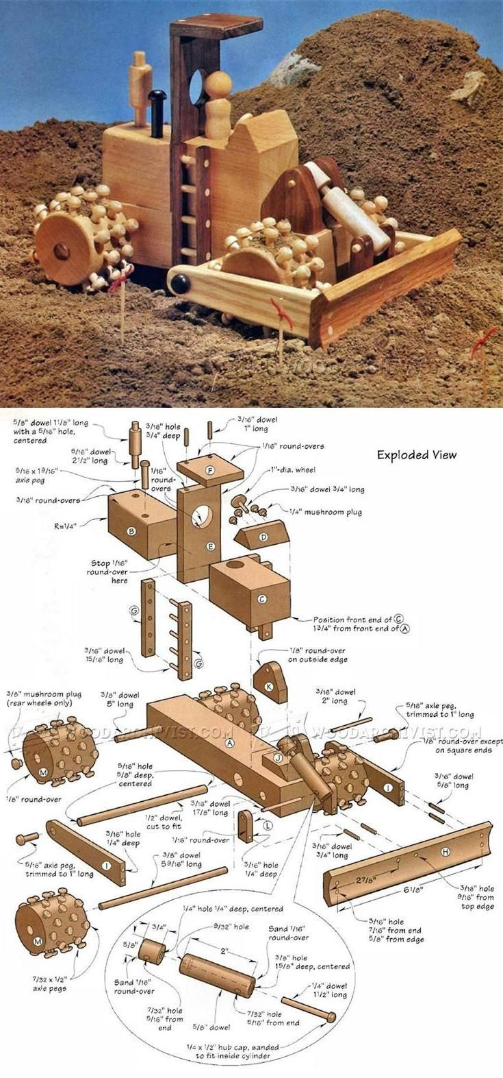 wooden roadbed compactor - wooden toy plans and projects