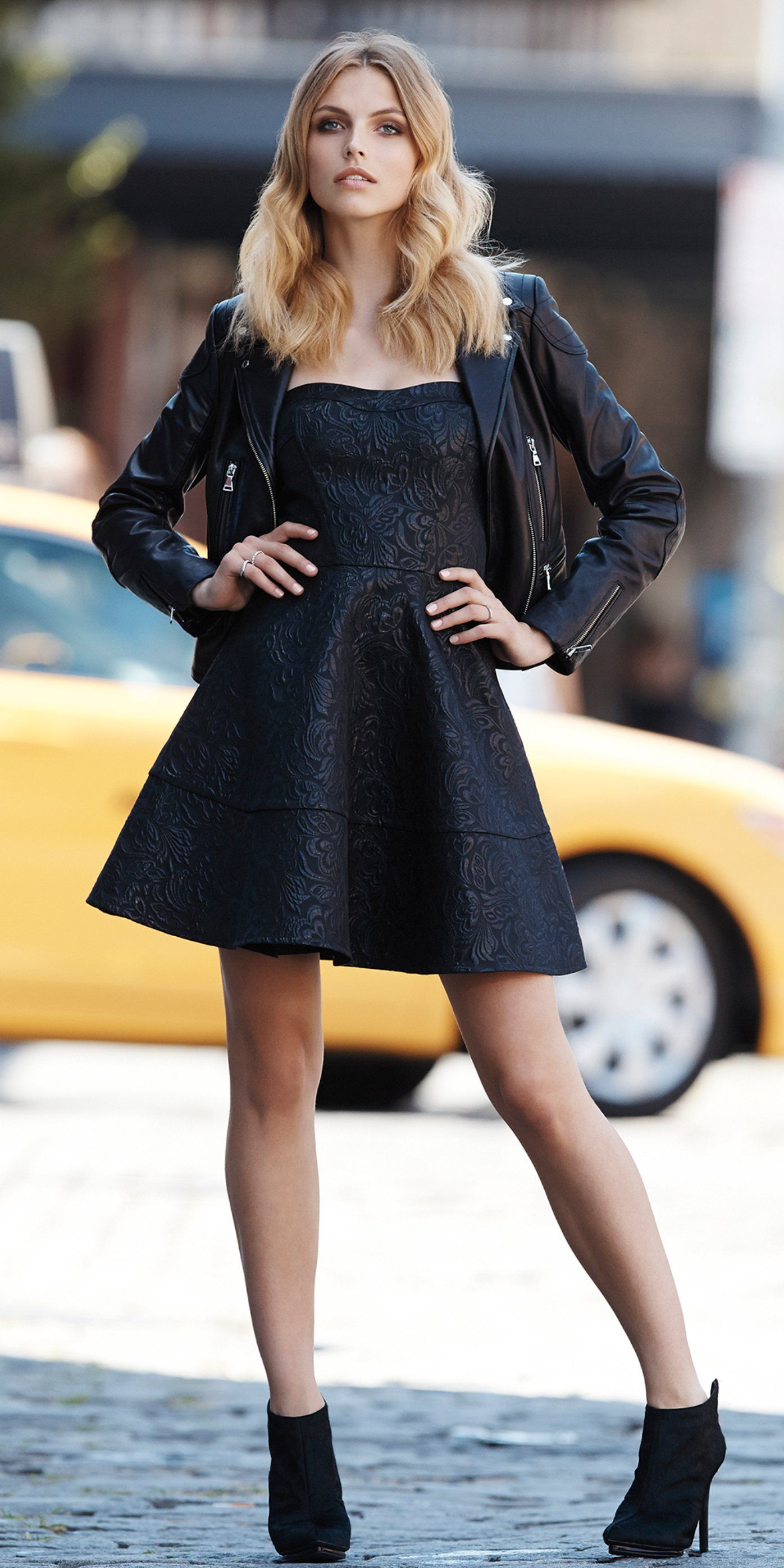 Minus The Leather Jacket And Strapless Fit Flare Dress Express Expownit Fashion Clothes For Women Lil Black Dress Jacket Over Dress [ 2792 x 1396 Pixel ]