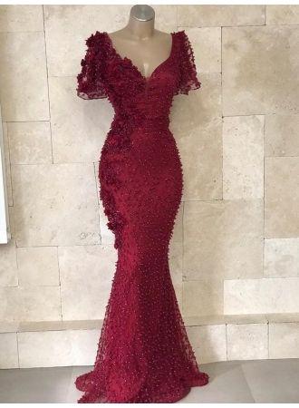 festliche kleider abendkleid weinrot  abendkleider lang mit Ärmel modellnummer xy463bc0955