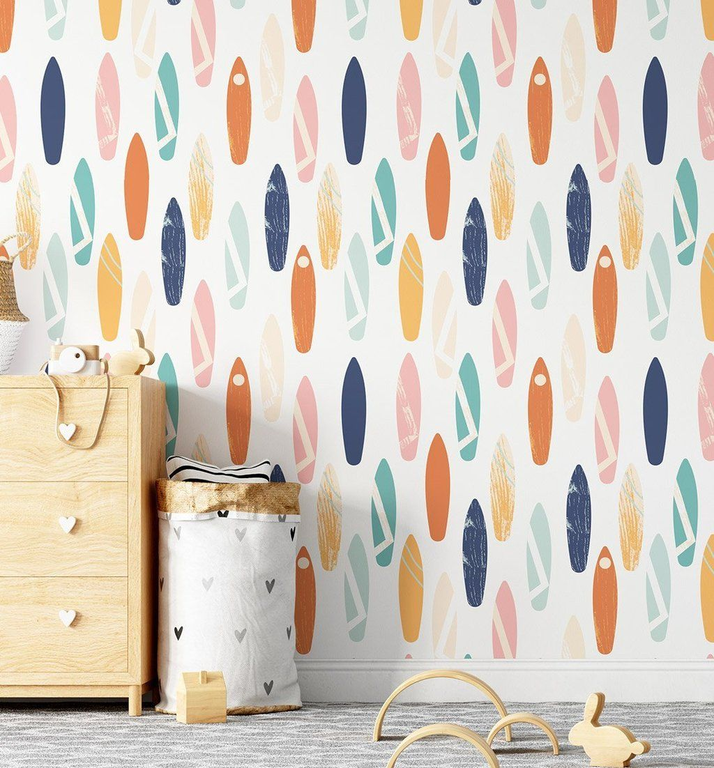 Shop Peel Stick Removable Surfs Up Surfboard Fabric Adhesive Wallpaper For Boys Bedrooms Fabric Wallpaper Bamboo Wallpaper Beige Wallpaper