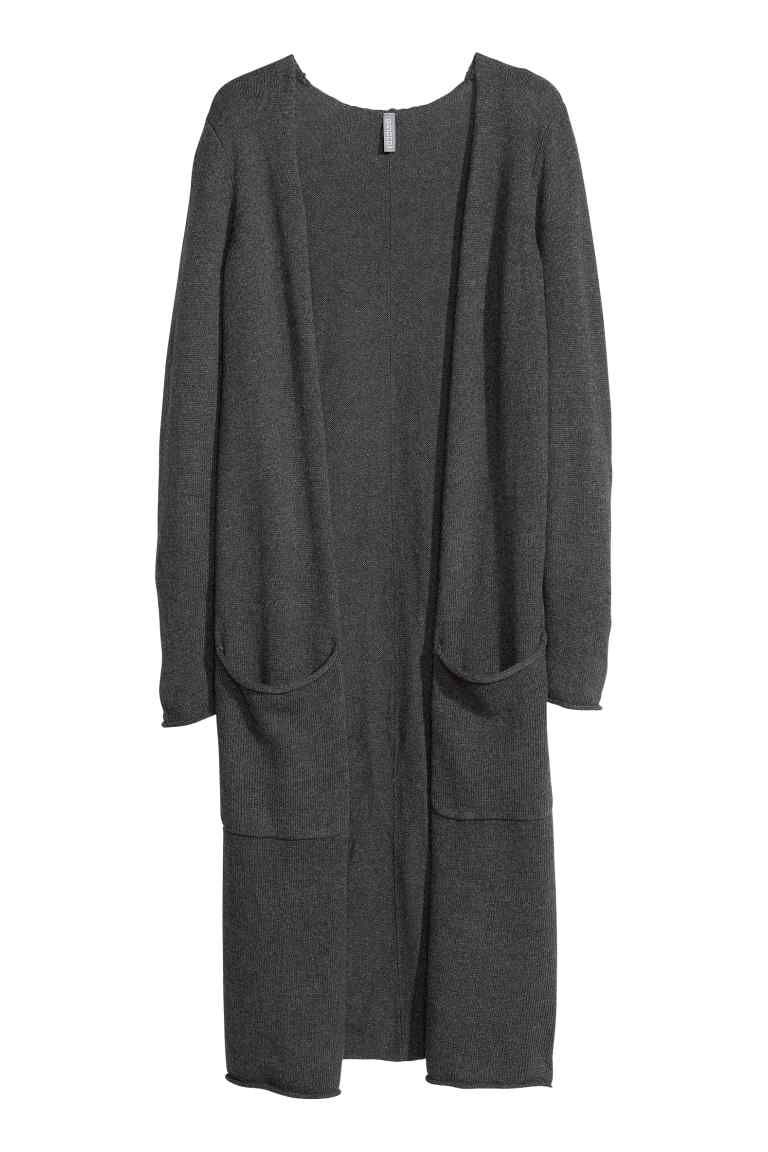 Cardigan de malha fina: Cardigan comprido de malha fina de mistura de lã. O