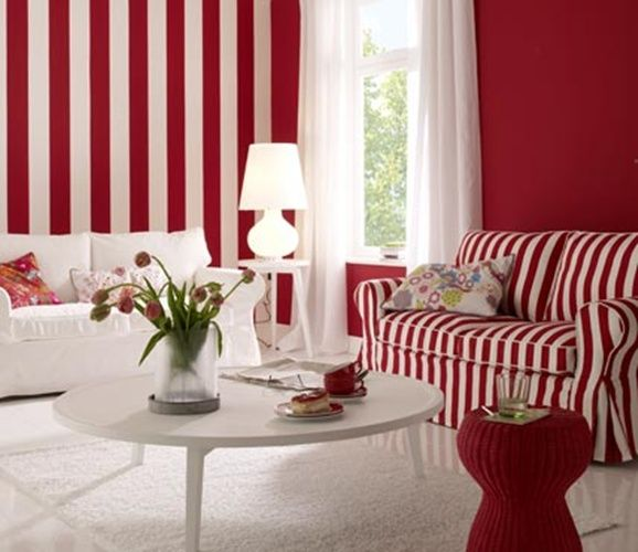 red white stripes on the wall living room striped sofa in ...