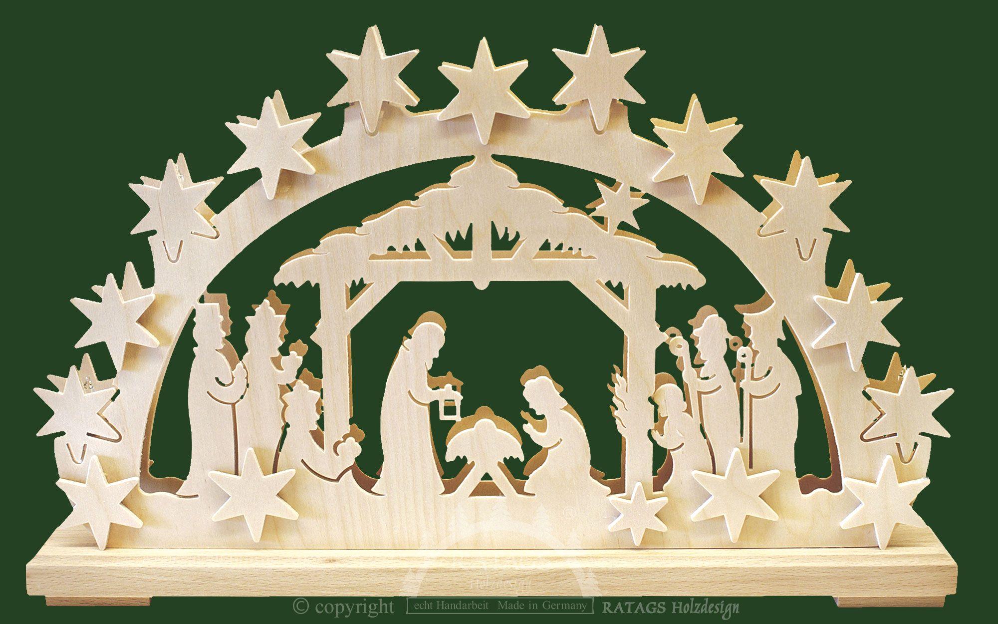 Fensterbild Christi Geburt im Stall Erzgebirge