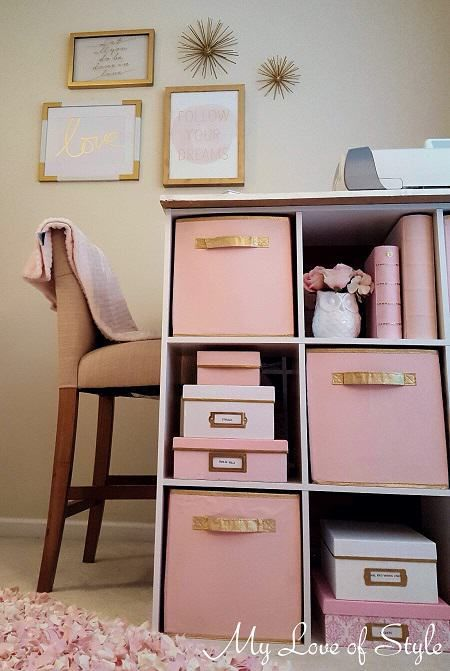 Pink And Gold Painted Fabric Storage Bins Fabric Storage Bins Storage Bins Organization Decorative Storage Bins