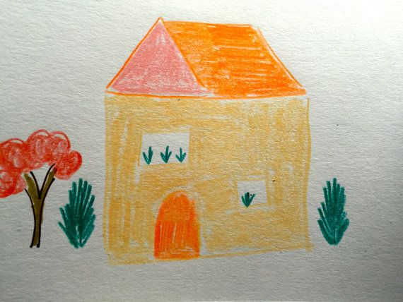 Yellow House Orange Roof Welcome to your new home by LilyMoonsigns