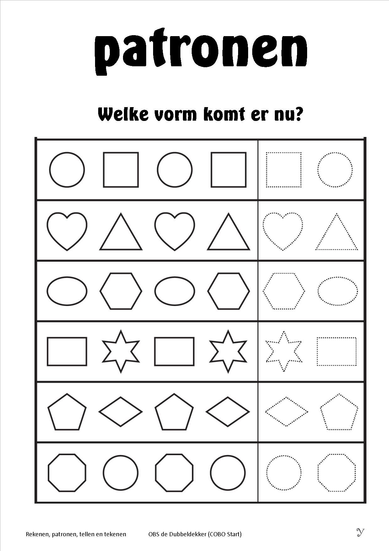 Worksheets Preschool Pattern Worksheets rekenen vormen en patronen 1 school pinterest math patterns circle the shape that comes next 2 worksheets free printable worksheets