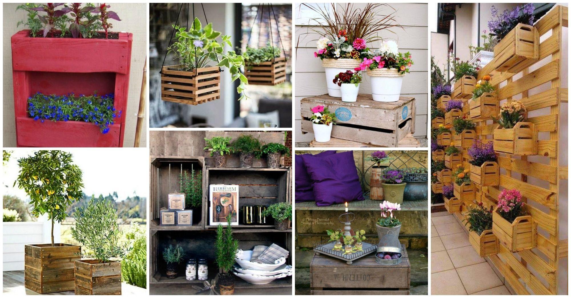 Ideas Para Decorar Tu Jardin Con Cajas Madera Decoracion Cajas Cajas Y Madera