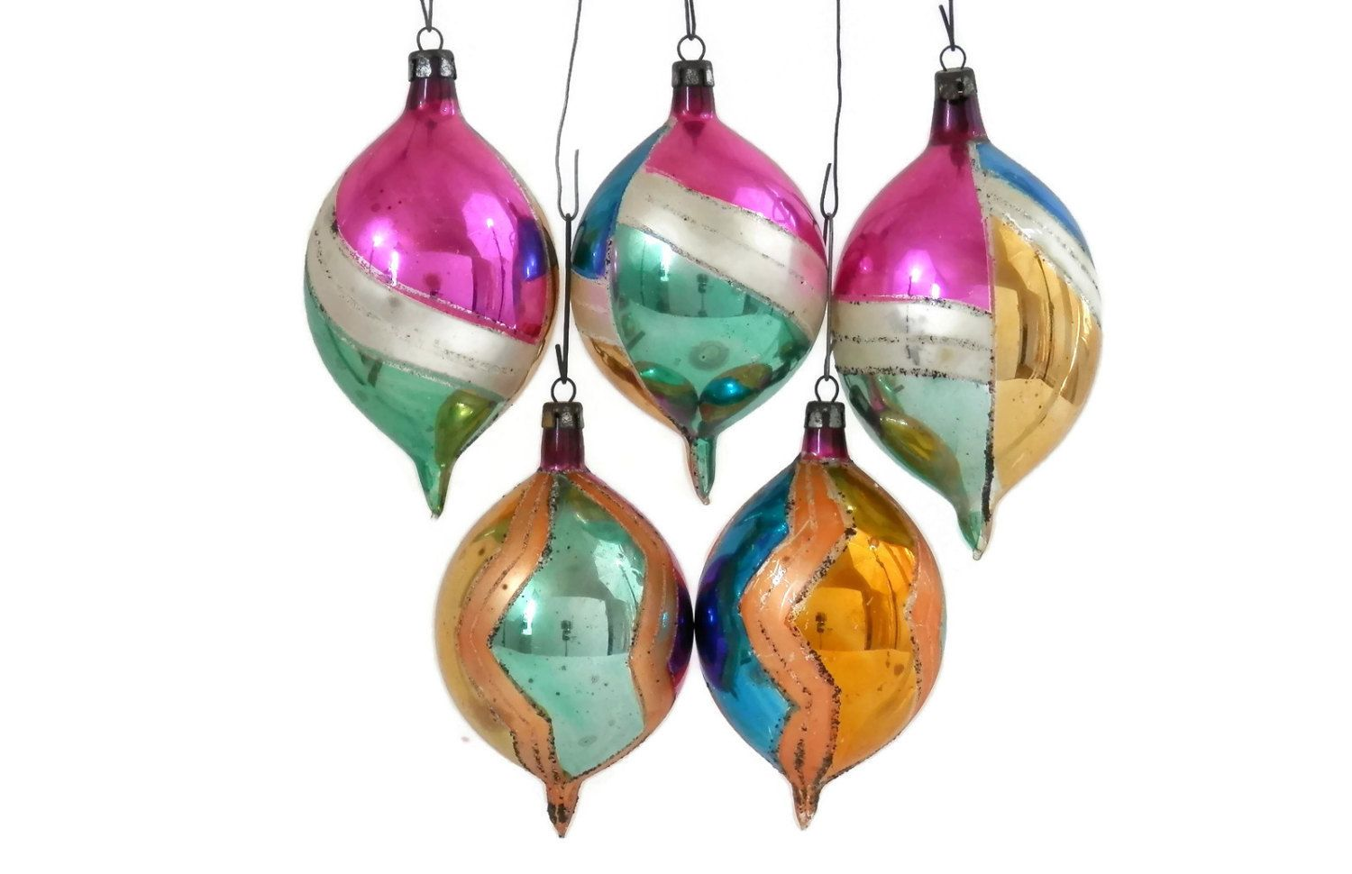 Set 5 Polish Christmas Ornaments Mercury Glass Teardrop Shaped Etsy Mercury Glass Christmas Ornaments Christmas Ornaments Antique Christmas Ornaments