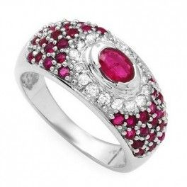 14K Gold Ring w Diamond & Ruby Size 7.5  Material: 14K white gold  Gemstones: 39/1.57ct genuine ruby  Gemstones: 16/0.33ct genuine diamond  Color/Clarity: I-J/I1-I2  Width: 10mm  Ring Size: 7.5