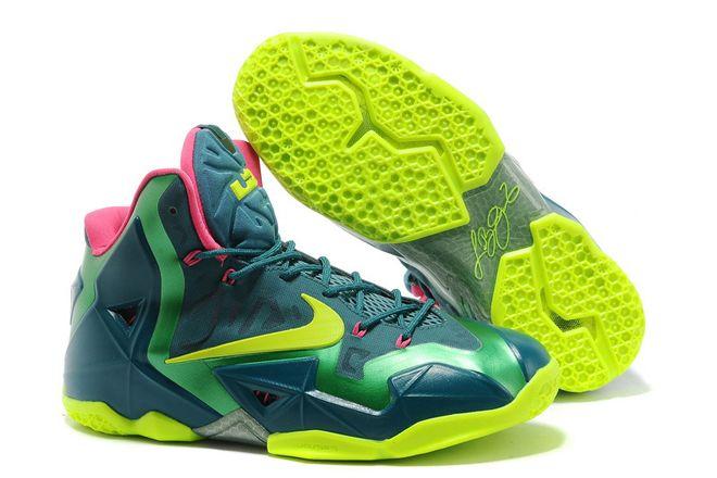 Deshabilitar Sherlock Holmes Exquisito  LeBron XI T-Rex Nike Basketball Shoes Green Yellow Pink