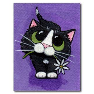 Schwarze Katze Postkarte Katze Malen Katzen Kunst Und Katzen