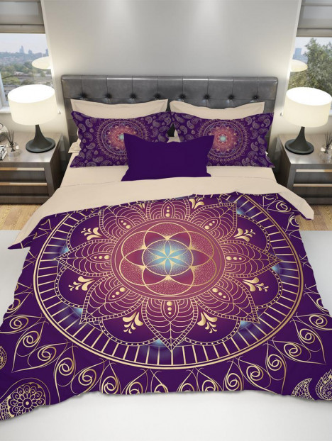 Purple Mandala Bedding Boho Bedding Mandala Duvet Cover Duvet Cover Sets Bohemian
