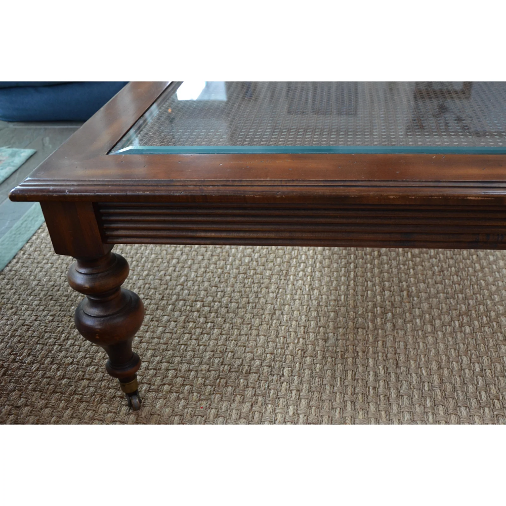 Ethan Allen Caned Coffee Table With Glass Top Brass Casters Glass Top Coffee Table Coffee Table Brass Casters [ 1000 x 1000 Pixel ]