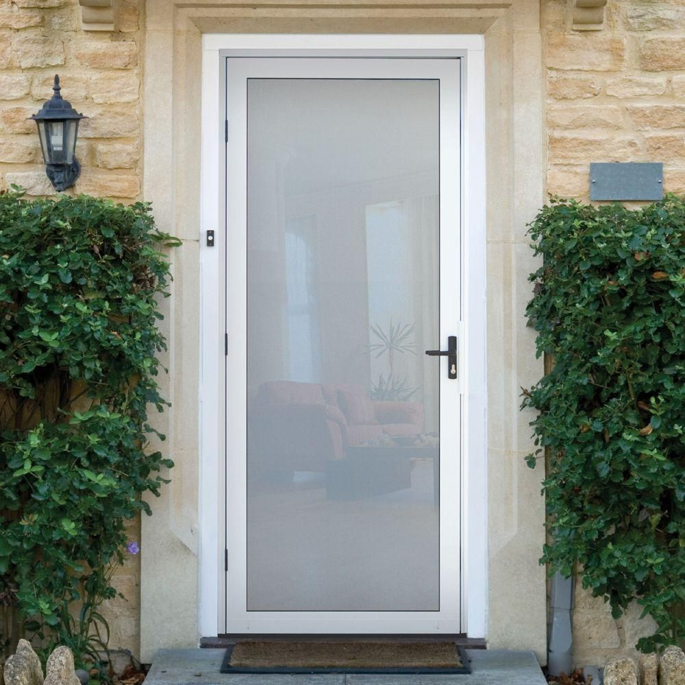 Unique Home Designs 36 In. X 80 In. White Full View Security Door With