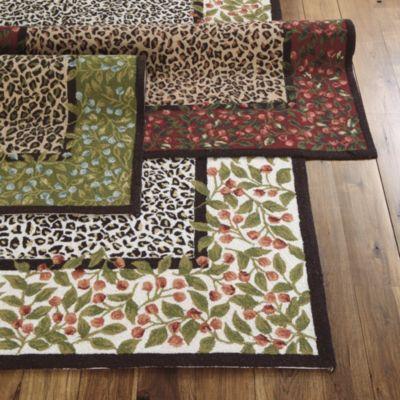 Savannah Rug Leopard Print Area Rug Blooming Red Roses Rug Rug W