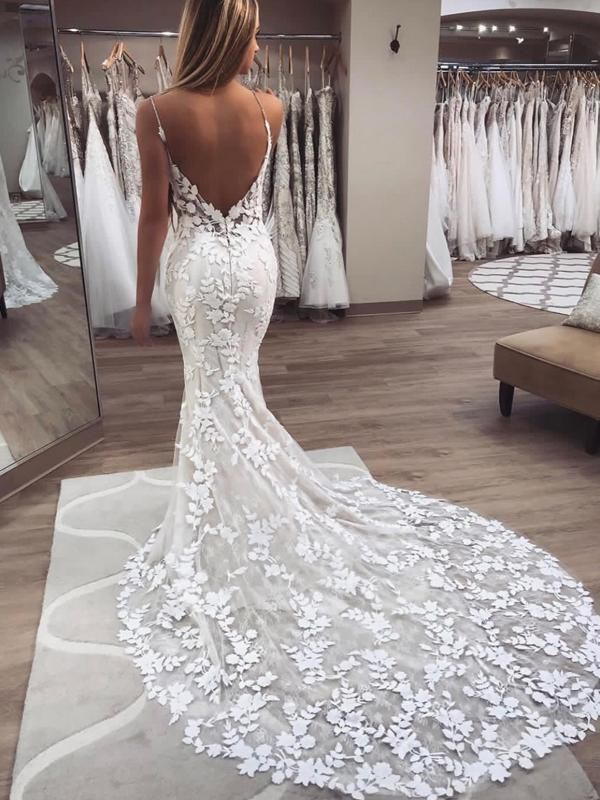 Chic Spaghetti Strap Backless Lace Applique Beaded Mermaid Wedding Dresses, WD1107