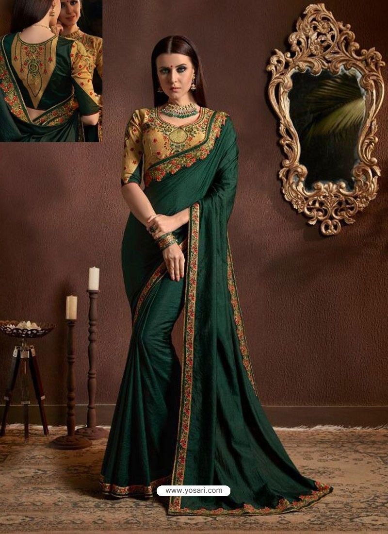 03336a6a0c Dark Green Chiffon Georgette Zari Embroidered Party Wear Saree in ...