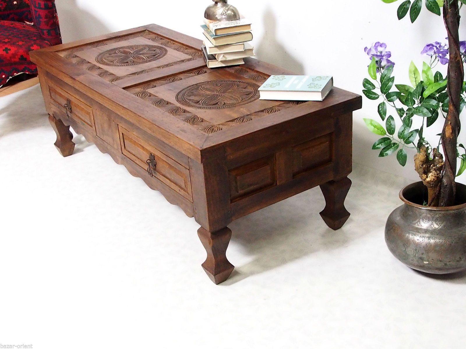 128x56cm Antik Kolonial Wohnzimmertisch Tischtruhe Tisch