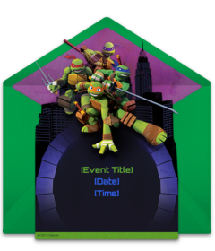 Free Teenage Mutant Ninja Turtles Online Invitations Personalize And Send Via Email For Your Birthday Party