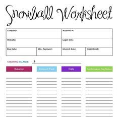 Worksheets Debt Worksheets the snowball system is best way to pay off debt now you can keep