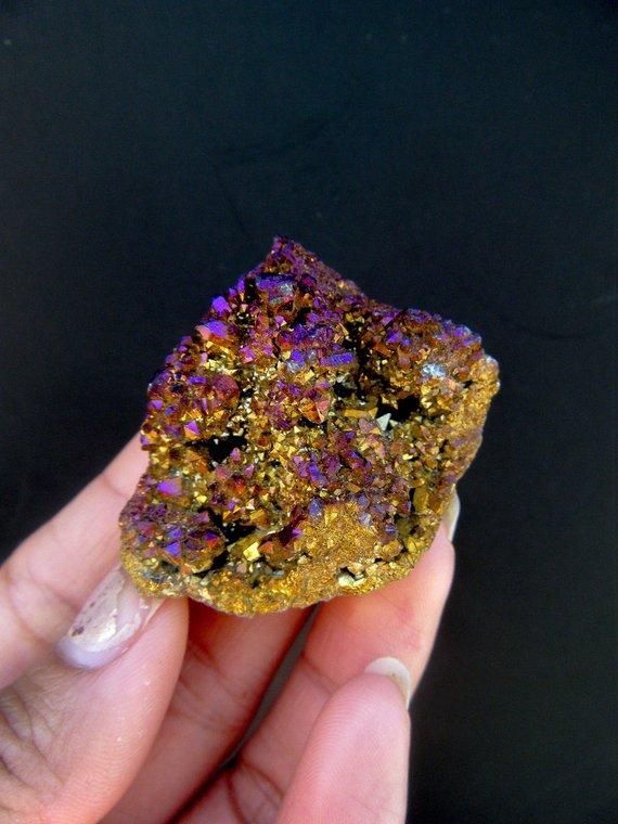 Purple And Gold Aura Quartz Crystal, Magic Stone, Quartz Cluster