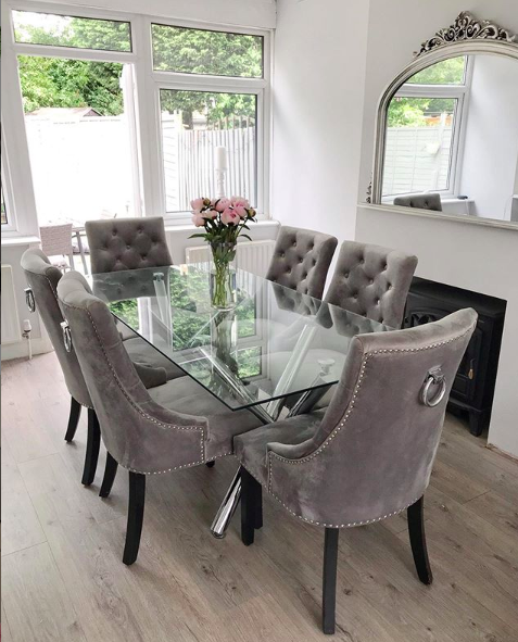 Ella 200cm Glass Dining Table Luxury Dining Room Elegant Dining